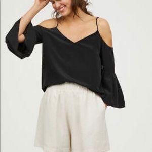 H&M black cold shoulder blouse